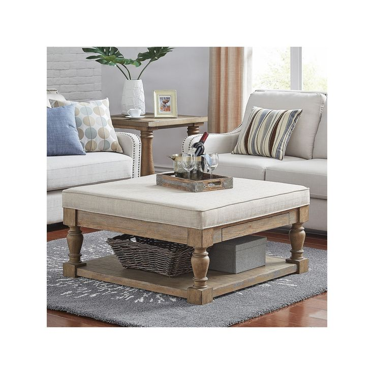 HomeVance Tufted Upholstered Coffee Table, Beig/Green (Beig/Khaki)