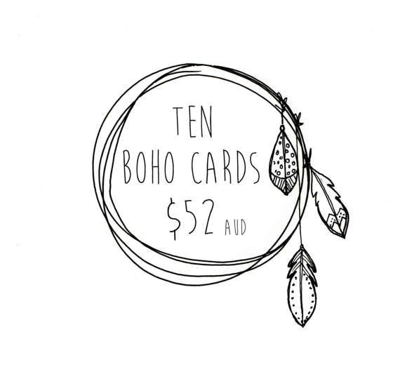 10 BOHO CARDS . choose 10 cards . greeting card by ThePaisleyFive