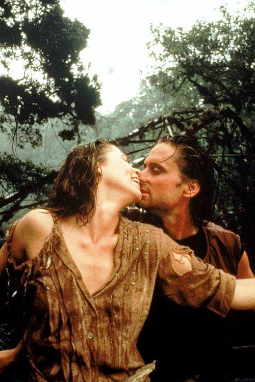 Kathleen Turner & Michael Douglas in Romancing the Stone, 1984