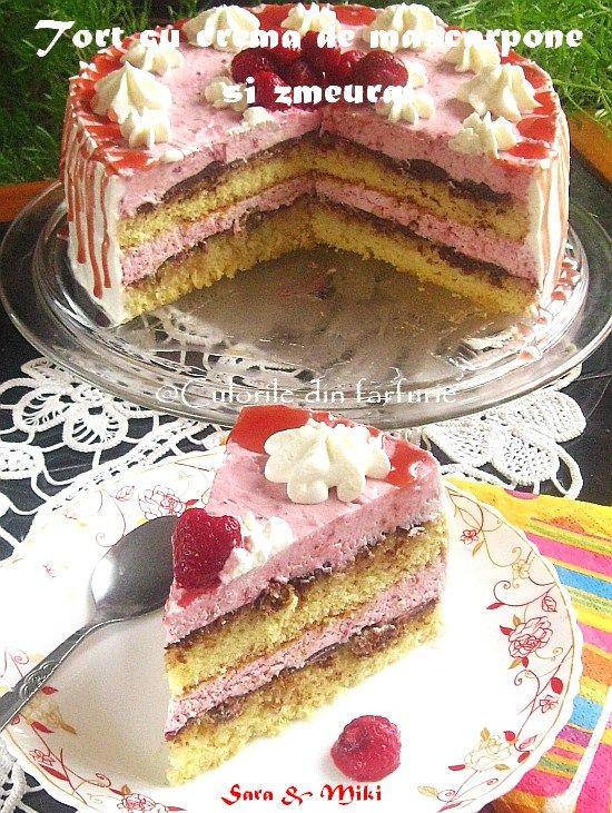 Tort cu crema de mascarpone si zmeura un tort reconfortant si parfumat de la zmeura.