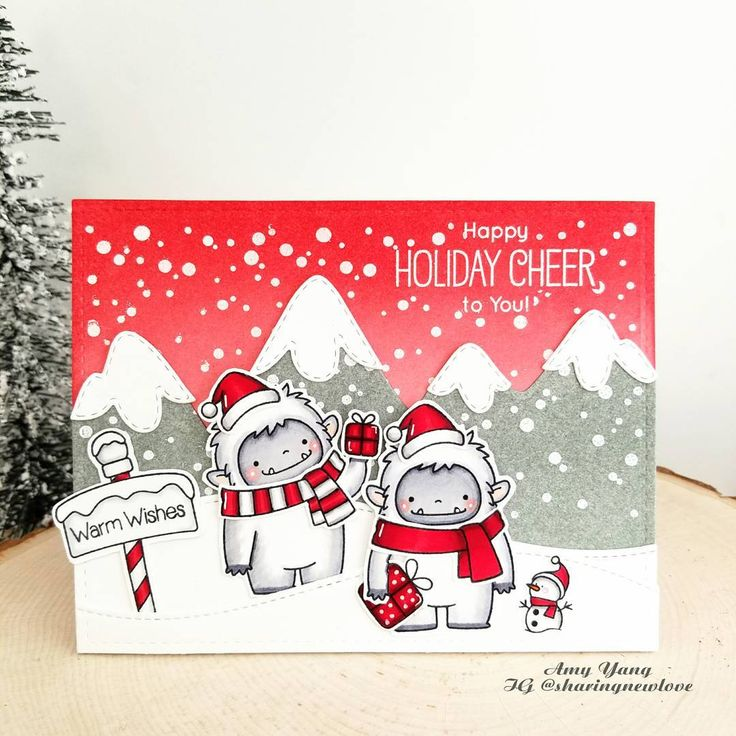 Love these #yetis from #mftstamps and how cute is that tiny snowman ☃☃☃ #simonsaysstamp #mamaelephant #birdiebrown
