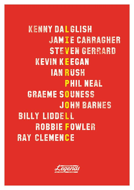 Liverpool FC Legends Poster A3 420 x 297mm by headfuzzbygrimboid