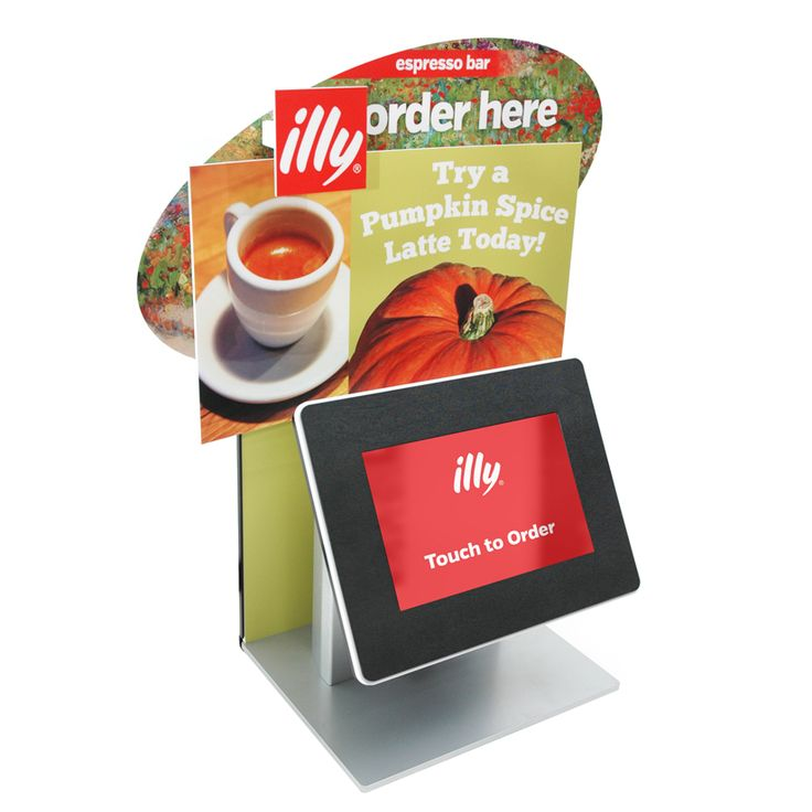 this self-service kiosk for Illy Coffee combines a standard countertop kiosk with a mini-backdrop and 3D popouts!