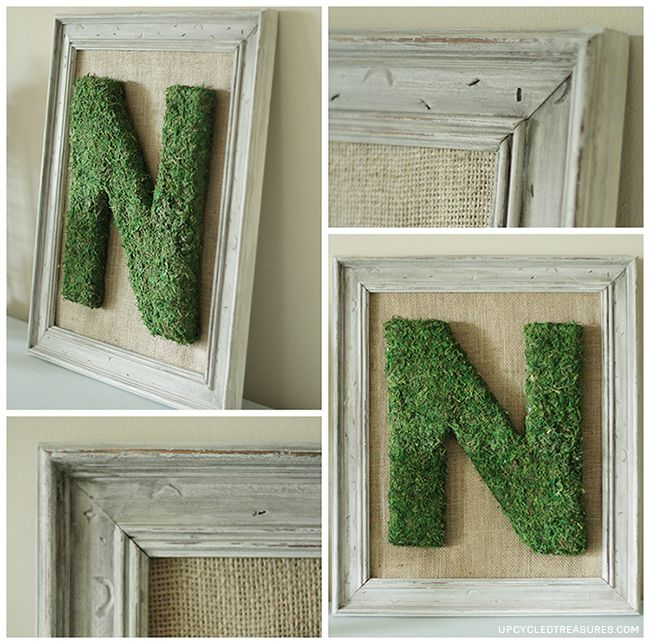{DIY} Moss Monogrammed Letter Frame - Upcycled Treasures