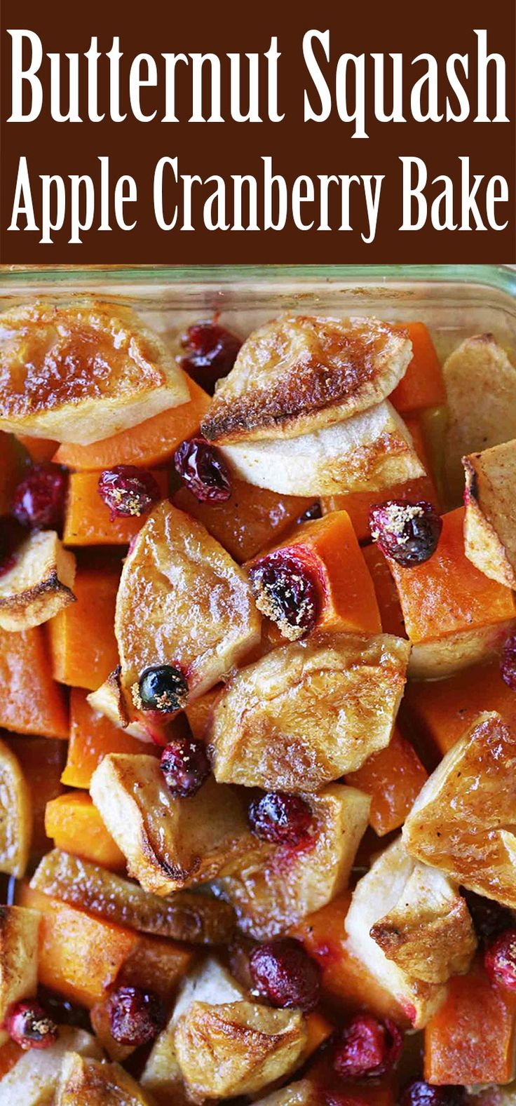 Simple EASY butternut squash, apple, and cranberry bake recipe! Perfect for a holiday feast.