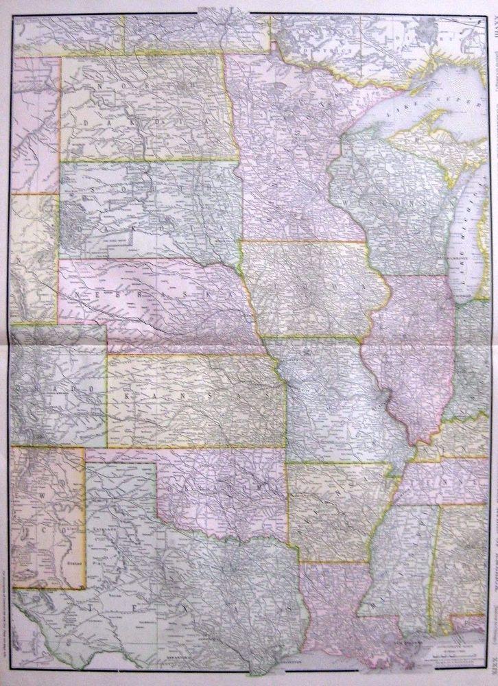 1914 RARE UNITED STATES Map Denver To