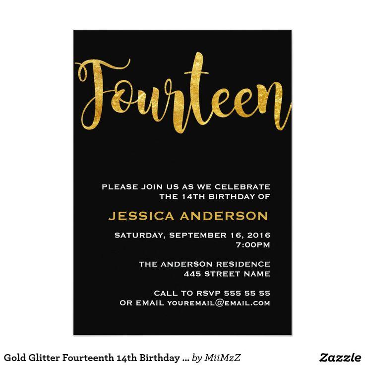 Gold Glitter Fourteenth 14th Birthday Invitation