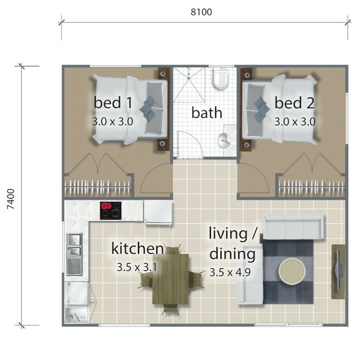 The layout design for the Hughes steel granny flat.