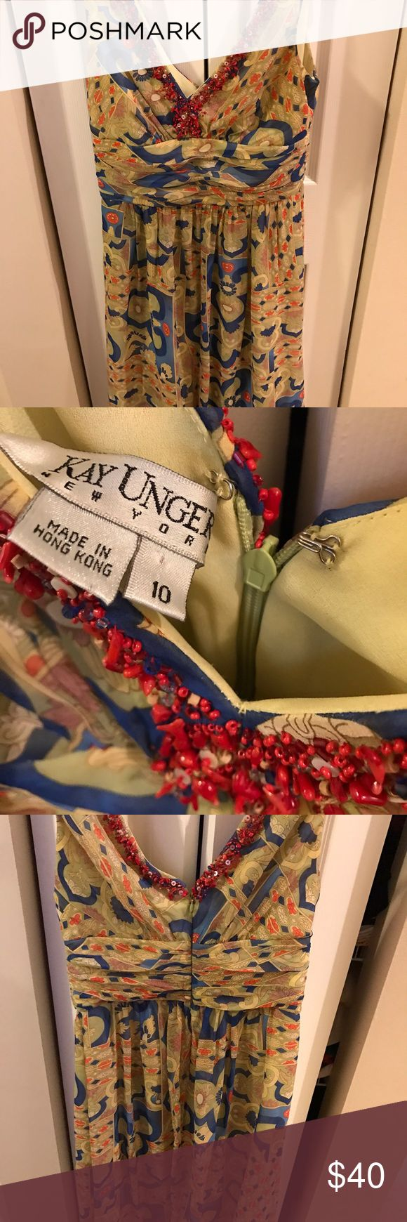 Multi color Kay Unger cocktail dress Kay Unger cocktail dress size 10 Kay Unger Dresses Midi