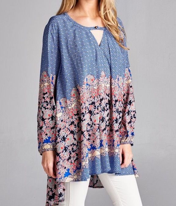 SOUTHERN GIRL FASHION $58 Floral Printed Swing Tunic Long Sleeve Mini Top S M L #Boutique #Tunic #Casual