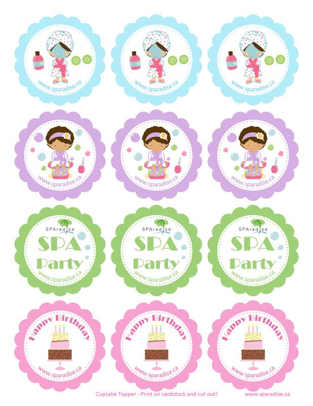 Spa Party Cupcake Toppers Free Printable