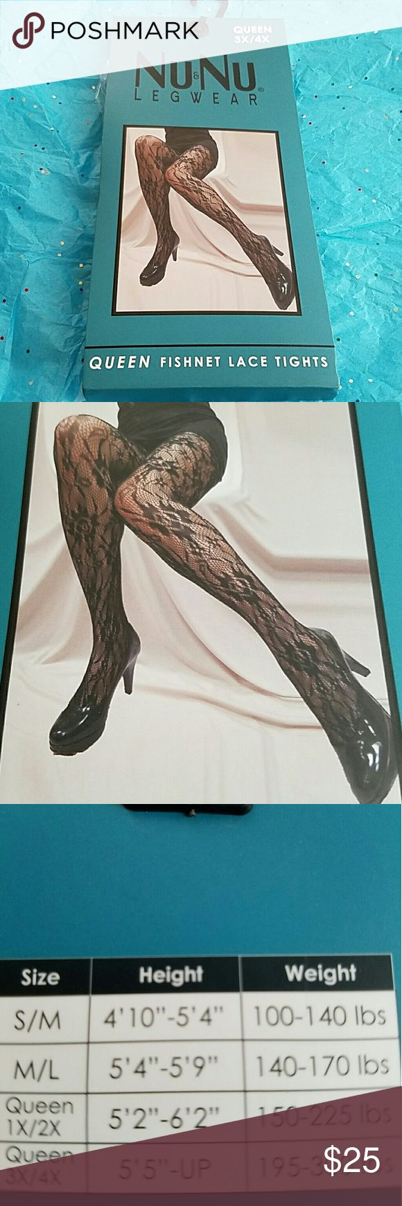 "3X/4X Queen size fishnet tights panty hose floral Offered is a sexy pair of black fishnet tights or panty hose with a Floral Lace pattern. New with tags and in immaculate condition.  Made by Nu&Nu. Queen size 3X/4X. 5'5"" -up, 195 - 300 lbs. 11 styles available so check out my other listings.  Style #4 Nu&Nu Accessories Hosiery & Socks"
