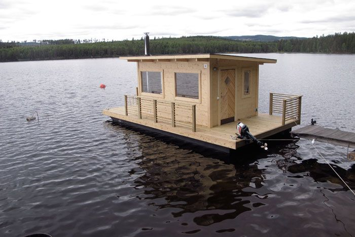With its simple yet modern slant roof, this is one of our favorite ready-made floating saunas out there.