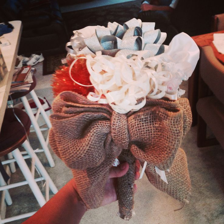 Rehearsal dinner bow bouquet. Used all ribbons from wedding shower presents ;)