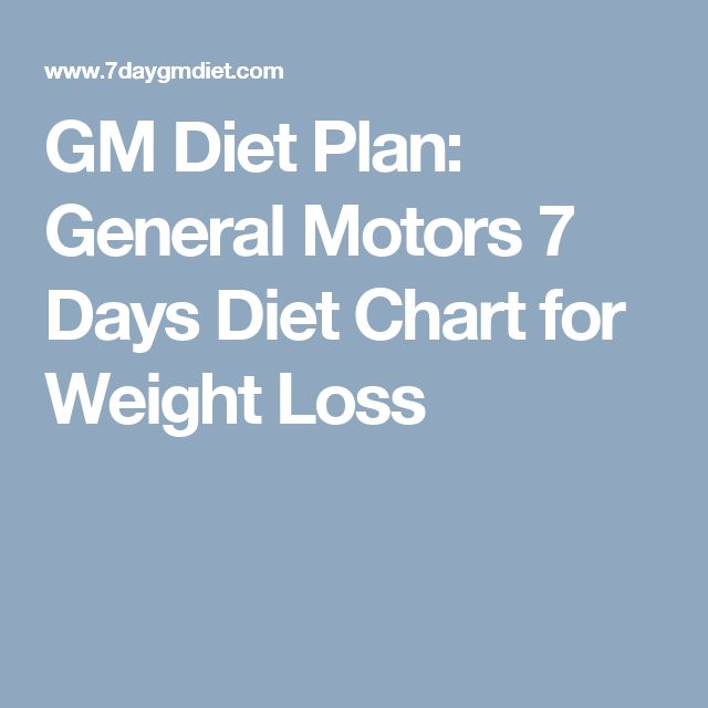 GM Diet Plan: General Motors 7 Days Diet Chart for Weight Loss