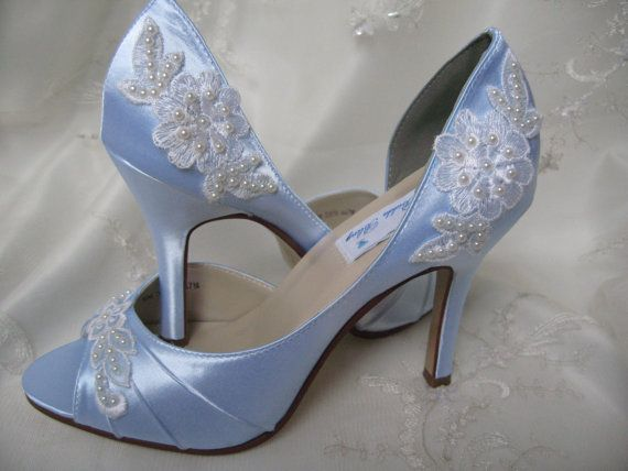 Good Blue Wedding Shoes With Lace And Pearls Baby Blue   Over 100 Colors And  Heel Heights To Pick