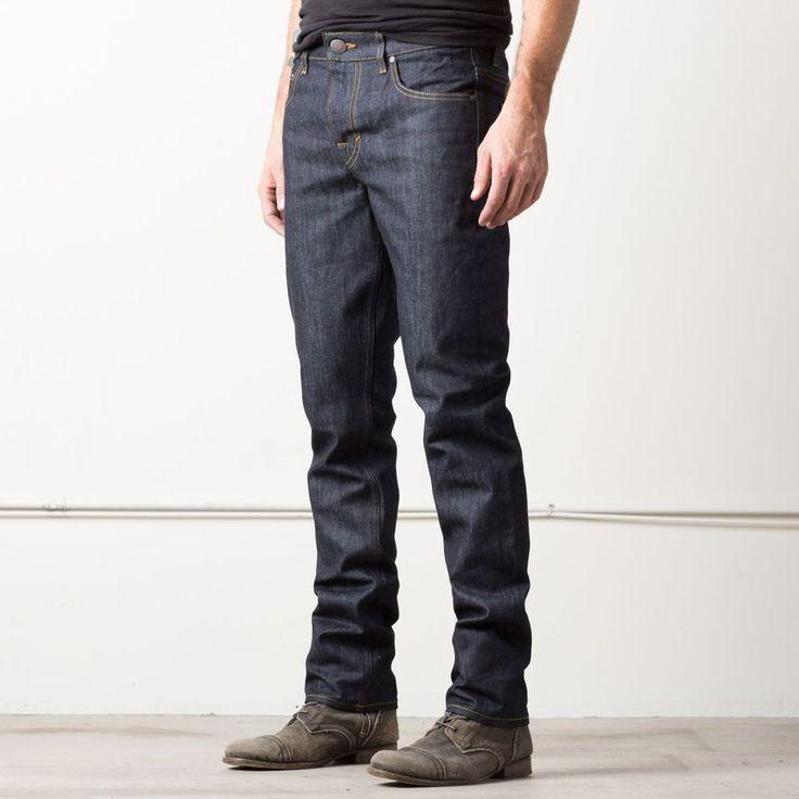 Mens Slim 12.75oz Raw Denim Jeans In 24 Dip Indigo Timber | DSTLD Luxury Jeans & Essentials | No Retail Markup