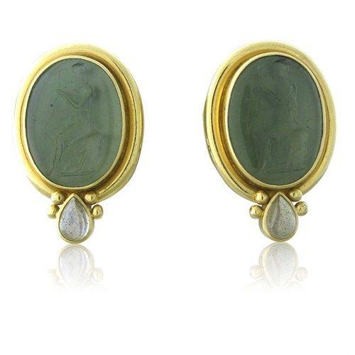 Large Elizabeth Locke 18k Gold Venitian Gl Intaglio Moonstone Earrings