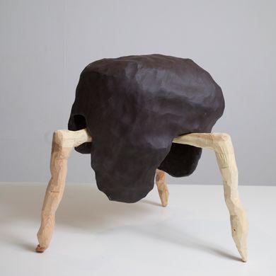 Nao Matsunaga, Macomba Helmet, 2012, ceramic and wood, 44 cm x 42.5 41.5