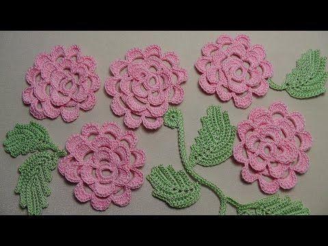 Вязание плоской РОЗЫ - урок вязания крючком. Как связать розочку крючком - Crochet Rose - YouTube