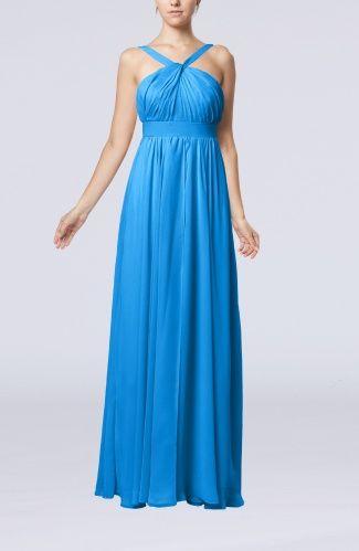 cornflower blue bridesmaids dresses  | Cornflower Blue Elegant Empire V-neck Sleeveless Chiffon Bridesmaid ...