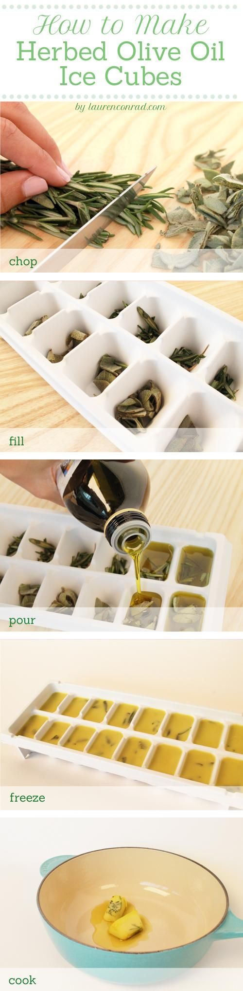 Read on to find out how you can make delicious and convenient herb-infused OLIVE OIL ice cubes. #OliveOil #DIY