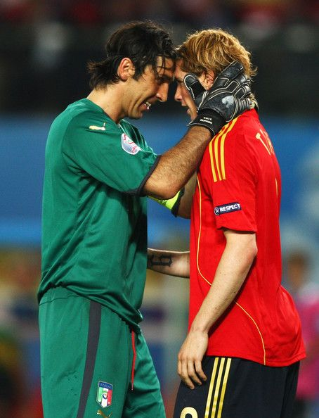 Gianluigi Buffon & Fernando Torres//I remember this moment - essentially Gigi Buffon consoling a disappointed Torres after blocking a terrific shot, by implicitly reminding him that in the big picture, they were getting millions to play games, and had nothing, really nothing, to be angry about.