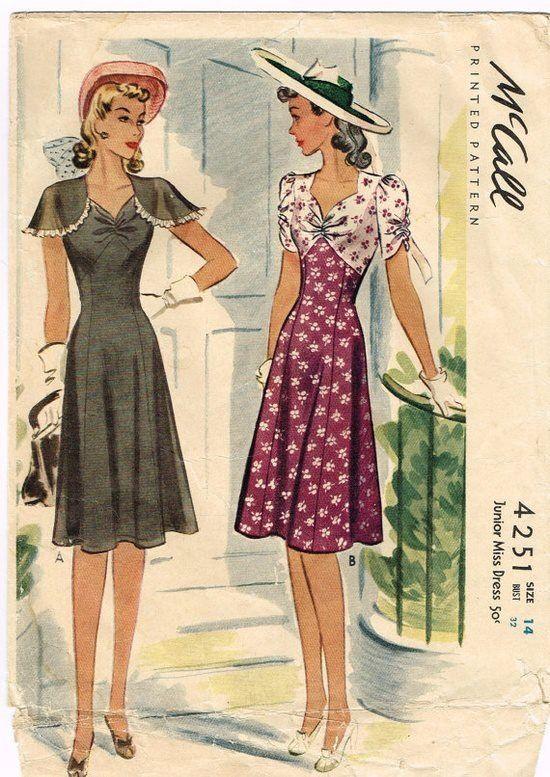 Original 1940's Rare Sun Dress with Sweetheart Neckline Size 14 Bust 32 McCall…