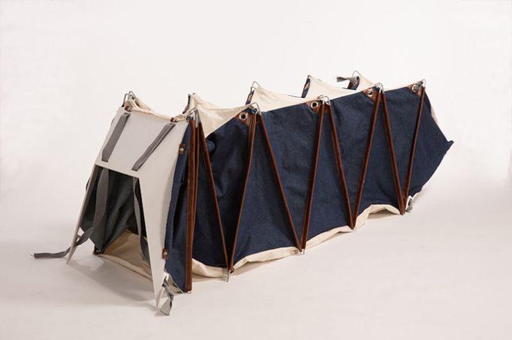 Imaginé pour les adeptes de la vie nomade, le sac à dos Melina se transforme en tente pour dormir où que vous vous trouviez.