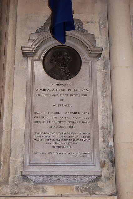 Admiral Arthur Phillip memorial, Bath Abbey   by hugh llewelyn