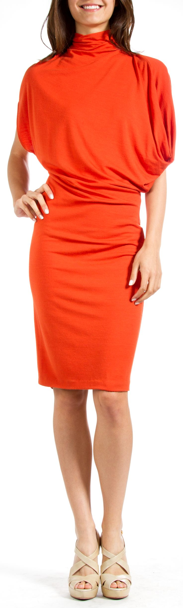 Stella McCartney Orange Dolman Dress - Bright hues make a bold statement in Spring, and an orange hue like this is easily transitional from season to season. Fits oversized.
