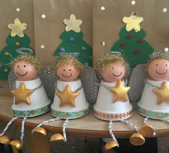 Zu Weihnachten basteln - DIY Bastelideen - Engelchen basteln mit Tontöpfen