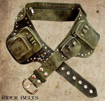 Wild Card is most well known for their leather accessories such as studded belts, rider belts and holster bags. A little western, a little steampunk, a little post apocalypse, a 100% cool. Pictured on the right is a studded rider belt.