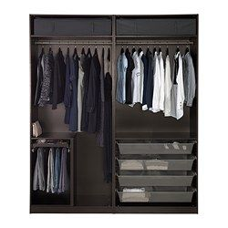 "PAX Wardrobe, black-brown, Auli Sekken - 78 3/4x26x93 1/8 "" - IKEA  To Try to make from plywood"