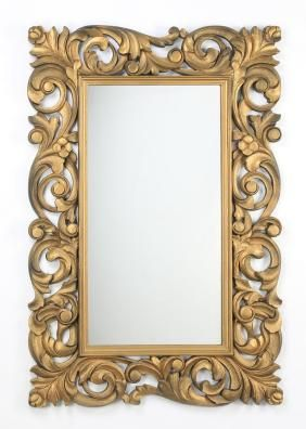 "Rococo Inspired Carved Mirror, 39"" X 60"""