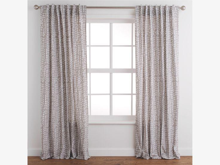 TRENE YELLOW Cotton Pair Of Grey Patterned Curtains 145 X 280cm   HabitatUK
