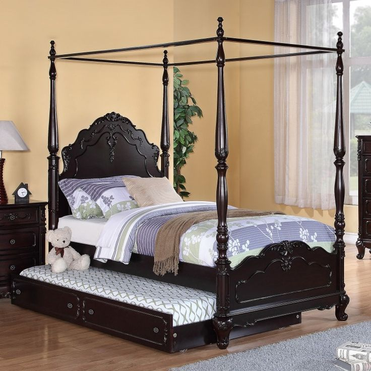 dark brown carved wooden canopy bed frame added extra sliding bed and grey carpet on brown - Carpet Canopy Decorating