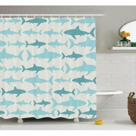 Sea Animals Decor Shower Curtain Set, Monochrome Shark Illustration Fashion Maritime Illustration Aquatics Print, Bathroom Accessories, 69W X 70L Inches, By Ambesonne