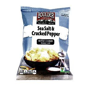Boulder Canyon Potato Chips - Sea Salt and Cracked Pepper 1.5 oz. bag of kettle cooked potato chips. Also available in Jalapeno Cheddar #snack #glutenfree