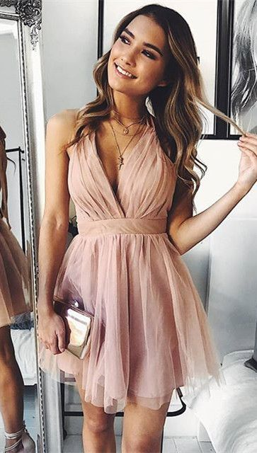 pink homecoming dresses party dresses, 2018 short homecoming dresses, halter v n…