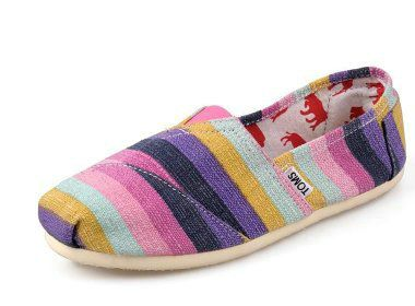 TOMS-I wear size 8 in these. I love them all in this group  very me. By the way  I have the bottom pair (black diamond design) and I also have a pair of plain silver Toms canvas slip ons. I also have the Toms taupe wedges.