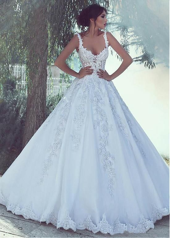 [243.60] Alluring Tulle Sweetheart Neckline A-line Marriage ceremony Gown With Lace Appliques & Beadings
