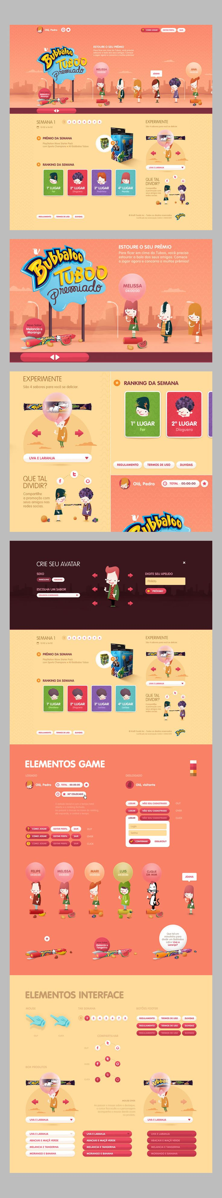 BUBBALOO web site - Agency: CUBOCC * My Role: Art Direction and Design * www.bubbaloo.com.br - really interesting color scheme
