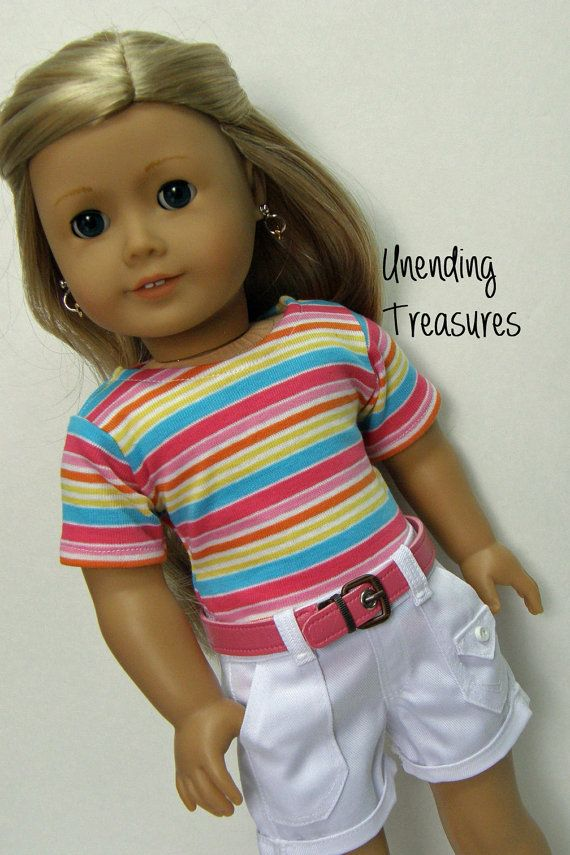 American Girl doll clothes, 18 inch doll clothes, striped top, white cargo shorts, and pink belt