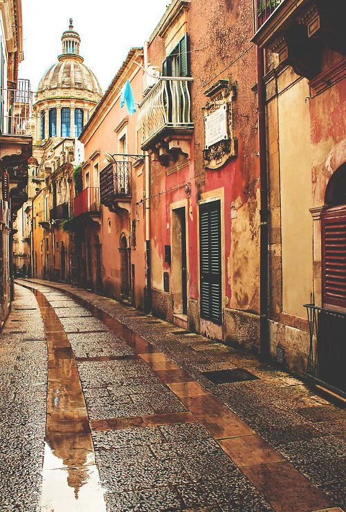 Winding Streets of Ragusa, Italy.