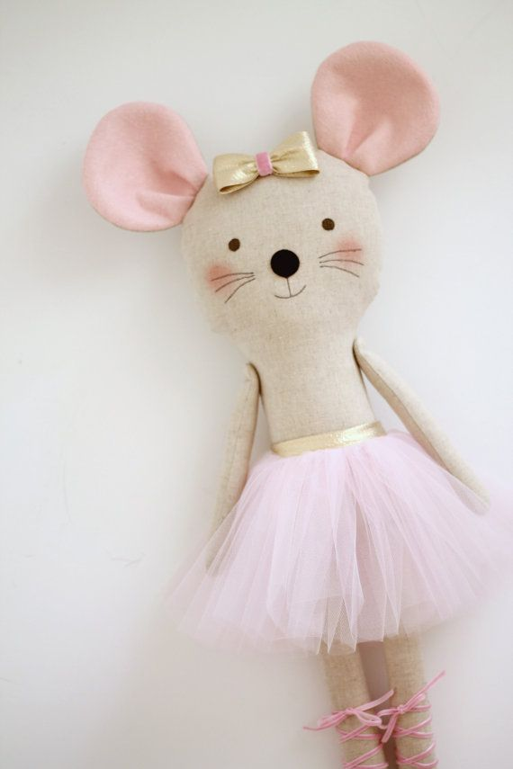 Mouse ballerina in a pink tutu and a golden bow. Stuffed animal mouse. Gift ideas for girls. Rag dolls. Nursery decor. Birthday gift idea