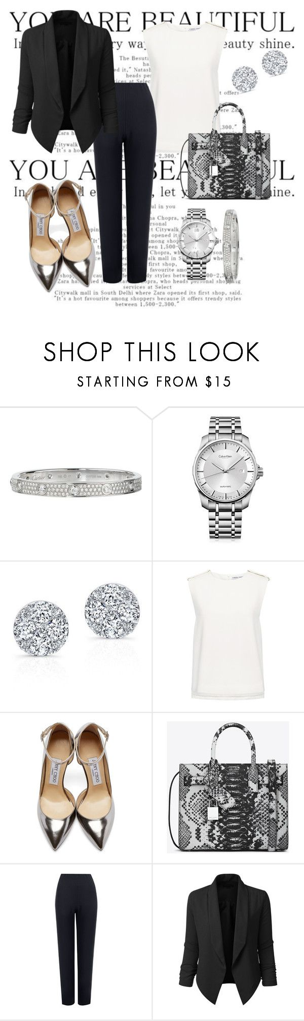 """""""Classic lady❤️"""" by naynomis-man ❤ liked on Polyvore featuring Cartier, Calvin Klein, Anne Sisteron, Finders Keepers, Jimmy Choo, Yves Saint Laurent, WearAll and LE3NO"""