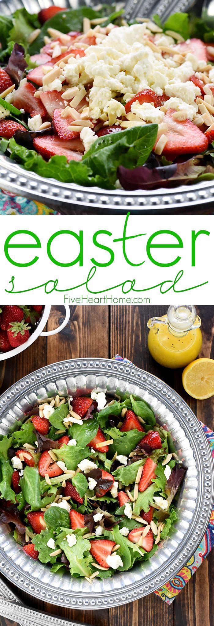Easter Salad ~ AKA, Strawberry Goat Cheese Salad with Lemon Honey Vinaigrette   FIVEheartHOME   Bloglovin'