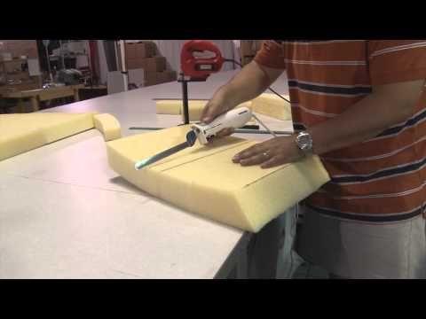 How to cut cushion foam using an electric kitchen knife:  http://youtu.be/wqodjNexy7w
