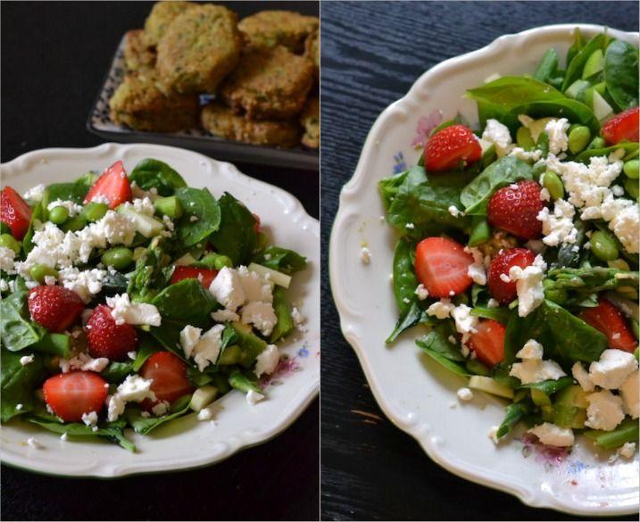 Grøn salat med jordbær og feta -